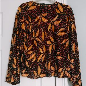 Zara print pleated blouse